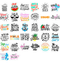 collection summer phrases slogans or quotes vector image
