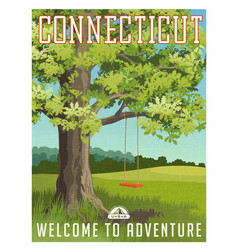 Connecticut travel poster or sticker vector