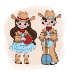 Cowgirl cowboy country music festival illus vector