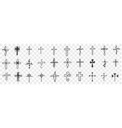 crosses various shapes doodle set vector image