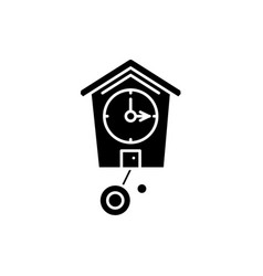 cuckoo-clock black icon sign on isolated vector image
