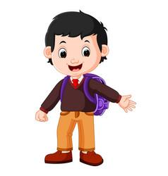 cute boy on his way to school vector image