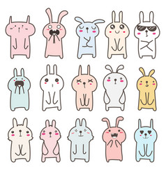 Cute bunny character design set vector