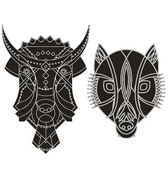 Decorated bull wolf heads vector