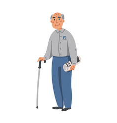elderly man old man character with walking stick vector image