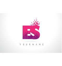 Es e s letter logo with pink purple color and vector