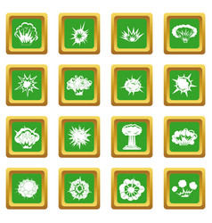 Explosion icons set green vector