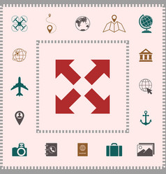 Extend resize icon cross arrow sign elements vector