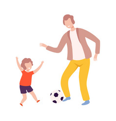 Father and son playing soccer with ball dad and vector