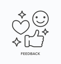 feedback flat line icon outline vector image