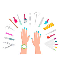 female hands manicure tools and nail polishes vector image