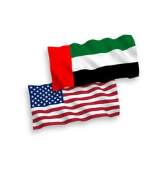 Flags united arab emirates and america vector