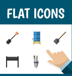 Flat icon garden set of barbecue container vector