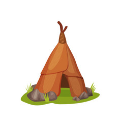 flat icon of ancient man hut on green grass vector image