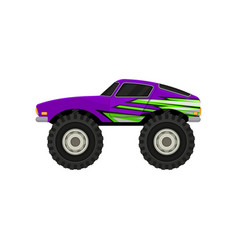 flat icon of purple monster truck cartoon vector image