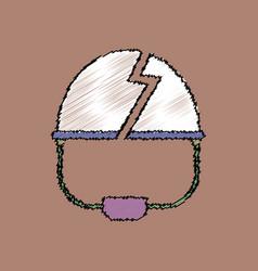 Flat shading style icon broken military helmet vector