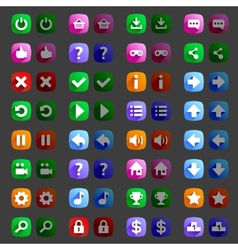 Flat style game icons buttons icons interface vector image