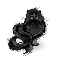 Fluffy black cat vector