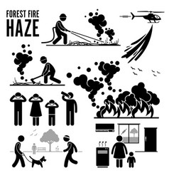 forest fire and haze problems pictograph vector image