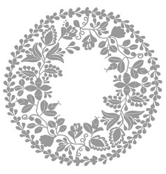 Grey and white laurel wreath frame isolated vector