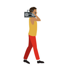 Guy walking listen music stereo radio vector