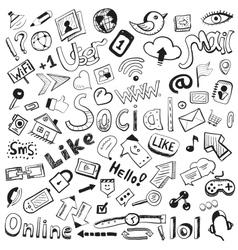 Hand drawn icons big set of modern social doodles vector