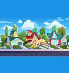 Houses on street suburb town cartoon family vector