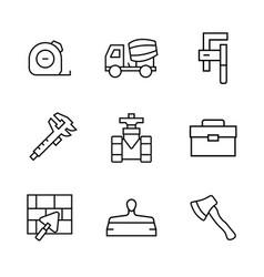 Icon set constructionrepair in line style vector