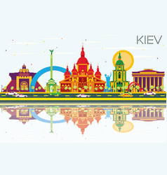 kiev skyline with color buildings blue sky vector image