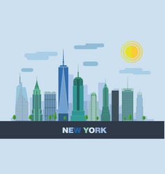 landscape of skyscrapers in new york flat vector image