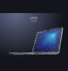 laptop low poly white metal vector image