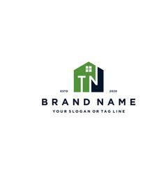 Letter tn home logo design vector