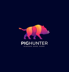 logo pig hunter gradient colorful style vector image