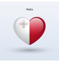 Love Malta symbol Heart flag icon vector image