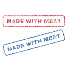 Made with meat textile stamps vector