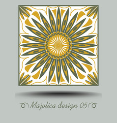 Majolica ceramic tile in nostalgic ocher and olive vector