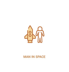 Man in space concept 2 colored icon simple line vector