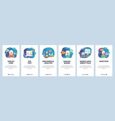 Mobile app onboarding screens healthcare vector