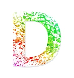 Music theme grungy font letter d vector