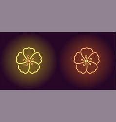 neon hawaiian flower in yellow and orange color vector image
