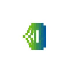 o letter pixel bit logo icon design vector image