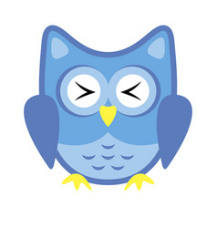 owl stylized icon blue colors vector image