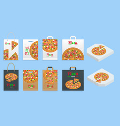 paper bag for pizza delivery pizza cardboard box vector image