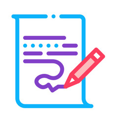paper list and pencil icon outline vector image