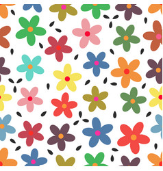 Pattern with colorful flowers vector