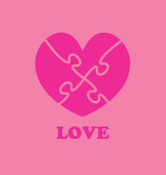 pink pieces puzzle heart valentine day symbol vector image
