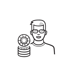 Player and casino chips hand drawn outline doodle vector