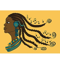 Portrait african girl with dreadlocks vector