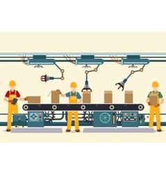 Production conveyor belt with operational people vector image