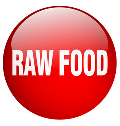 Raw food red round gel isolated push button vector